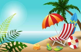 strand zomervakantie starterspakket achtergrondontwerp vector