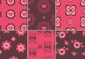 Pink & Brown Hearts Illustrator Patterns vector