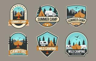 camping badge collectie vector
