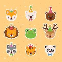 dieren cartoon stickers vector