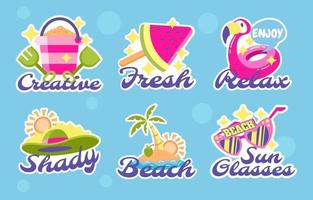 set zomer stickers vector