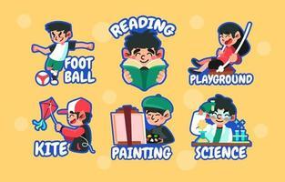 set stickers voor leuke activiteiten op school vector