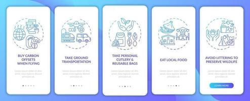 duurzame tourtips onboarding mobiele app-paginascherm met concepten vector