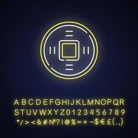 oude chinese munten neon licht pictogram vector
