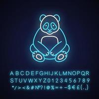 grote panda neon licht pictogram vector