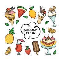 een bundel voedsel met een zomerthema vector