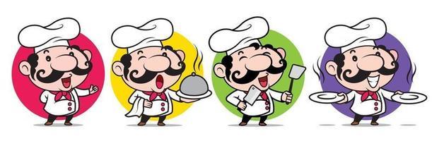 lachende Italiaanse chef-kok met grote snor keukenwaren te houden vector