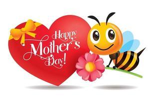 cartoon schattige bij met roze bloem met moeders dag grote liefde vorm groet uithangbord vector