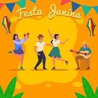 karakters van mensen vieren festa junina vector