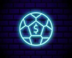 neonreclame voor online wedden. sportweddenschappen. logo voor online wedden, neonsymbool, lichte banner, heldere nachtreclame, gokken, casino. vector geïsoleerd op bakstenen muur