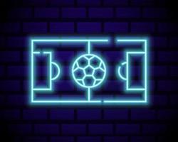live voetbal neon teken vector. live voetbal logo neon, ontwerpsjabloon embleem, online voetbalsymbool, lichte banner, heldere nacht voetbalreclame, europees voetbalteken. vectorillustratie geïsoleerd op bakstenen muur. vector