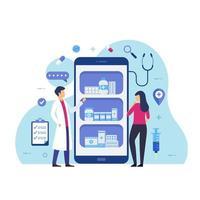 online apotheek ontwerpconcept medicijnen kopen via online vectorillustratie vector