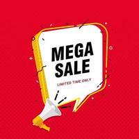 mega-verkoop banner ontwerpconcept met megafoon en tekstballon vector