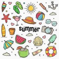zomer doodle lijn art stijl hand getrokken vectorillustratie vector