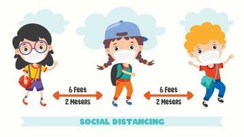 regels voor sociale afstand voor kinderen vector