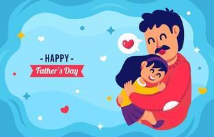 cartoon vader en dochter gevierd fahters day vector
