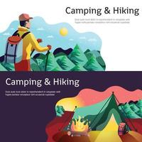 wandelen camping horizontale banners vector illustratie