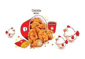 gebakken kippenemmer en drumsticks en schattige kip cartoon kunst illustratie vector