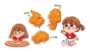 schattig meisje eten gebakken kip drumsticks cartoon kunst illustratie vector
