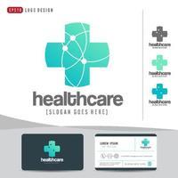 logo ontwerp medische gezondheidszorg of ziekenhuis- en visitekaartjesjabloon, schoon en modern patroon vector