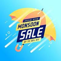 moesson speciale aanbieding verkoop tot 50 procent korting op banner. vector