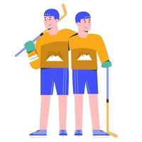 mensen die samen ijshockey spelen vector