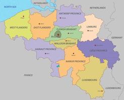 belgië kaart met staten vector