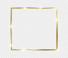 gouden luxe vintage realistische gouden glanzende gloeiende frame met schaduwen geïsoleerd op transparante achtergrond vector