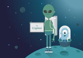 Hitch Hiker Illustratie. Alien en UFO-personage voor trektochten met trekhaken.