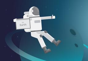 Hitch Hiker Illustratie. Astronautenkarakter voor trektocht met trekhaken.