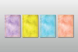 set van creatieve minimalistische handgeschilderde bruiloft uitnodiging met abstracte aquarel kunsten achtergrond vector