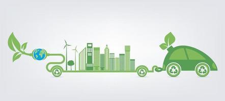 eco-vriendelijke groene auto concept vector