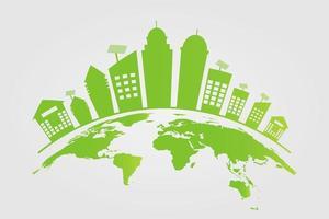 ecologie groene steden helpen de wereld met milieuvriendelijke conceptideeën vector