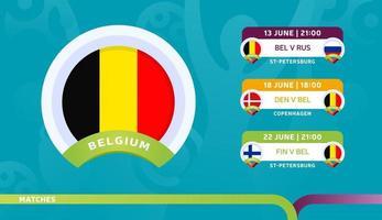 Belgische nationale ploeg programmeert wedstrijden in de slotfase van het voetbalkampioenschap 2020 vector