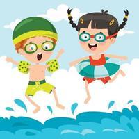 stripfiguren springen in het water vector