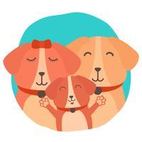 Hond familie vectorillustratie