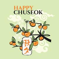Persimmon Tree. Mid Autumn Festival of Chuseok vector