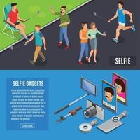 sociale foto selfie isometrische banners vector illustratie