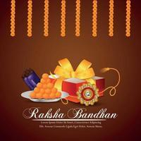 creatieve vectorillustratie van gelukkige raksha bandhan uitnodiging wenskaart met geschenken en rakhi en garland bloem vector