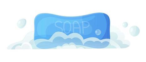 blauwe vaste zeep met bel en schuim verse schone hygiëne huidverzorging cosmetische handen wassen bad accessoires concept voorraad vectorillustratie in platte cartoon stijl geïsoleerd op wit vector