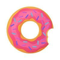 helder gebeten donut met roze glazuur geen dieet dag symbool ongezond voedsel zoet fastfood suiker snack extra calorieën concept voorraad vectorillustratie geïsoleerd op een witte achtergrond in cartoon stijl vector