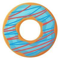 Helderblauwe donut met glazuur geen dieet dag symbool ongezond voedsel zoet fastfood suiker snack extra calorieën concept voorraad vectorillustratie geïsoleerd op een witte achtergrond in cartoon stijl vector