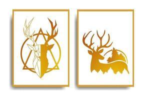 abstract herten posterontwerp elegant en luxueus ontwerpset vector