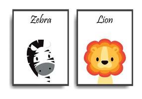 poster met dieren stripfiguren cartoon dierlijke zebra en leeuw set vector