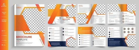 bedrijfsthema 12 pagina's zakelijk bedrijfsprofiel brochureontwerp 8 pagina's creatief bedrijfsbrochuremalplaatjeontwerp vector