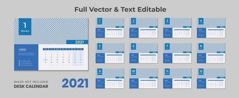 2022 bureaukalender met blauwe lay-out blauwe bureaukalender 2022 nieuwe bureaukalender 2021 sjabloon 12 maanden inbegrepen vector