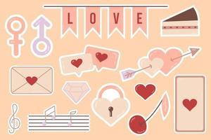 mooie liefdesstickers romantische objecten voor planner en organizer vector