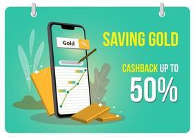 goud besparen online kortingen op diensten vector