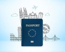 reisillustratie met blauw paspoort. vectorillustratie met beroemde monumenten vector