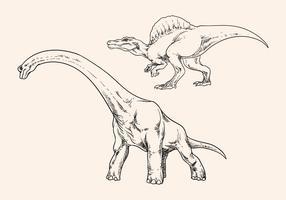 Hand Tekening Dinosaur vector